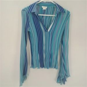 Cach'e blue striped flare sleeve blouse medium